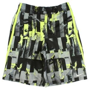 "Nike Boys 9"" Mirage E-Board Shorts Black Grey Volt"